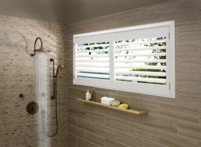 The Perfect Window Treatments for Bathrooms Near Southlake, Texas (TX) like Palm Beach Polysatin Shutter Material