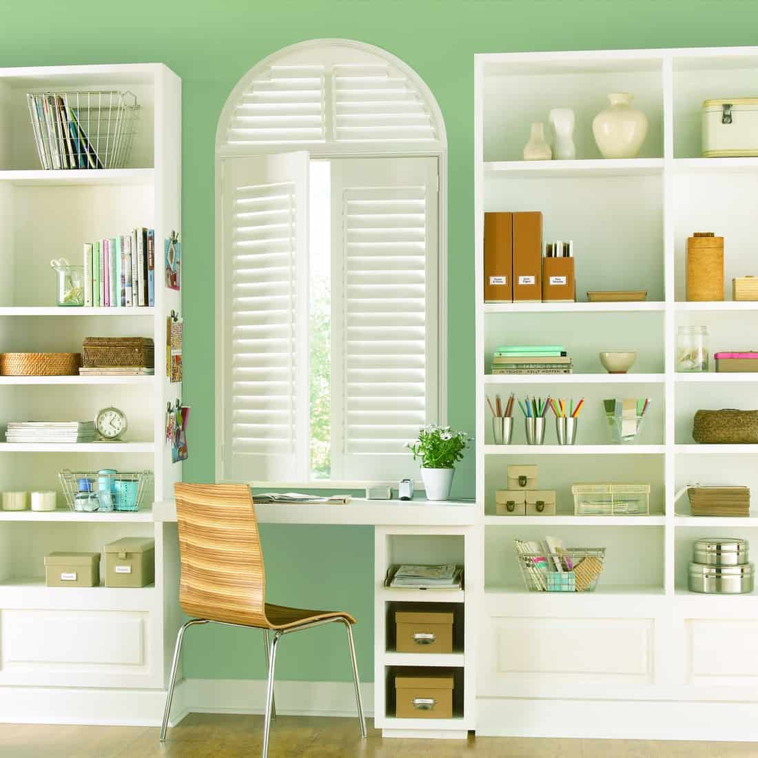 Automated Hunter Douglas Shutters for Homes near Keller, Texas (TX), including Polysatin™ Shutters for Study Spaces